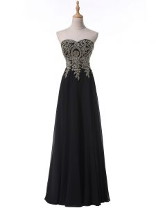 Black Chiffon Side Zipper Evening Dress Sleeveless Floor Length Beading and Appliques