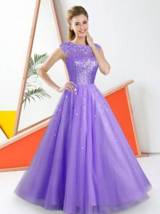 Floor Length Lavender Dama Dress Bateau Sleeveless Backless