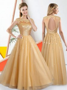 Superior Bateau Sleeveless Tulle Dama Dress for Quinceanera Beading and Lace Backless