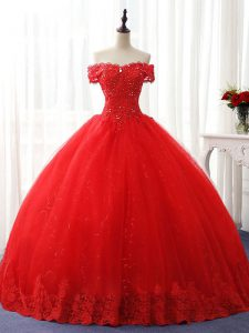 Best Ball Gowns 15th Birthday Dress Red Off The Shoulder Tulle Sleeveless Floor Length Lace Up