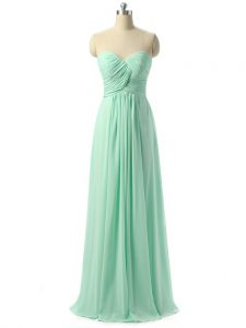 Best Selling Apple Green Chiffon Lace Up Damas Dress Sleeveless Floor Length Ruching