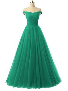 Fashion Green Tulle Lace Up Prom Dresses Sleeveless Floor Length Ruching