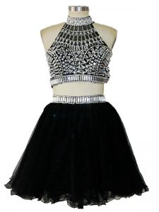 Glittering Black Dress for Prom Prom and Party and Beach with Beading Halter Top Sleeveless Criss Cross