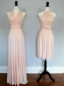 Customized Baby Pink and Peach Sleeveless Chiffon Lace Up Quinceanera Court Dresses for Prom and Wedding Party