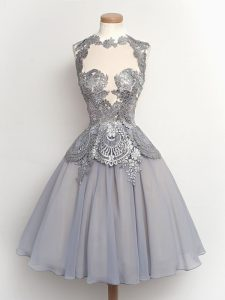 High Class High-neck Sleeveless Quinceanera Court of Honor Dress Knee Length Lace Grey Chiffon