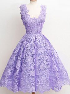 Fancy Lavender A-line Lace Straps Sleeveless Lace Knee Length Zipper Quinceanera Court of Honor Dress