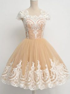 Fantastic Tulle Cap Sleeves Knee Length Bridesmaids Dress and Lace
