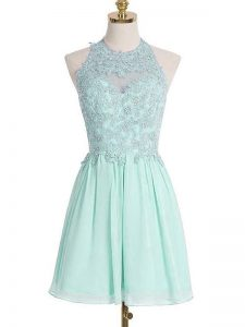 Sleeveless Chiffon Knee Length Lace Up Dama Dress in Apple Green with Appliques
