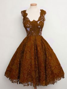 Excellent Brown Sleeveless Lace Knee Length Vestidos de Damas