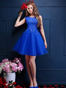 Latest Royal Blue Sleeveless Knee Length Beading and Lace Lace Up Bridesmaid Gown