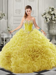Sleeveless Beading and Ruffles Lace Up 15th Birthday Dress with Yellow Court Train