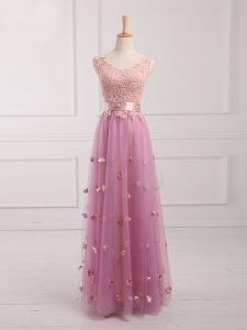Edgy Sleeveless Floor Length Lace and Appliques Lace Up Court Dresses for Sweet 16 with Lilac