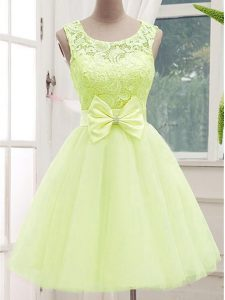 Yellow Green A-line Tulle Scoop Sleeveless Lace and Bowknot Knee Length Lace Up Bridesmaid Dresses