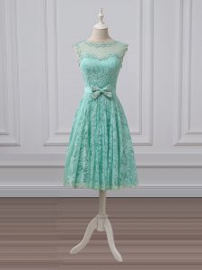 Apple Green Empire Scoop Sleeveless Lace Knee Length Lace Up Lace and Bowknot Bridesmaid Gown