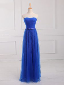 Royal Blue Sweetheart Lace Up Belt Damas Dress Sleeveless