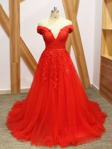 Fancy Coral Red Sleeveless Brush Train Lace and Appliques Evening Outfits