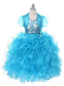 Modern Baby Blue Organza Lace Up Girls Pageant Dresses Sleeveless Floor Length Ruffles and Sequins and Bowknot