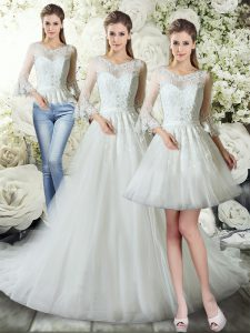 White Three Pieces V-neck 3 4 Length Sleeve Tulle Court Train Zipper Lace Bridal Gown