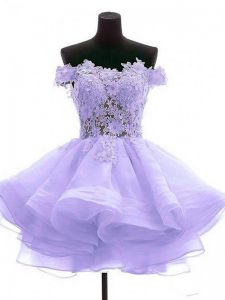 Lavender Cocktail Dresses Prom and Party and Sweet 16 with Lace and Appliques Off The Shoulder Sleeveless Zipper
