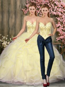 Captivating Light Yellow Sleeveless Beading and Ruffles Floor Length 15th Birthday Dress