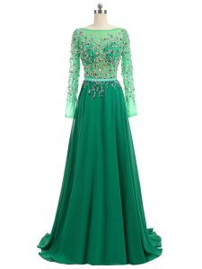 Perfect Brush Train Empire Pageant Dress for Girls Green Bateau Chiffon Long Sleeves Backless