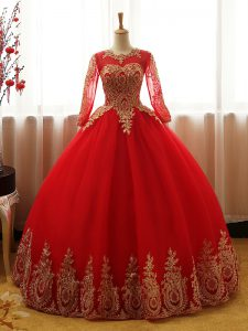 Red Long Sleeves Floor Length Appliques Lace Up 15 Quinceanera Dress