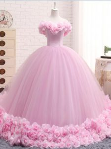 Glittering Baby Pink Lace Up Off The Shoulder Hand Made Flower 15th Birthday Dress Tulle Sleeveless Brush Train