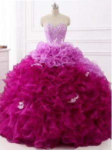 Perfect Sleeveless Brush Train Beading and Appliques and Ruffles Lace Up Quinceanera Dress