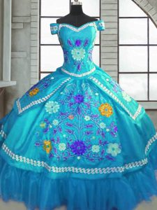 Taffeta Sweetheart Short Sleeves Lace Up Beading and Embroidery Quinceanera Dress in Teal