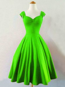 Unique Green Taffeta Lace Up Straps Sleeveless Mini Length Wedding Guest Dresses Ruching