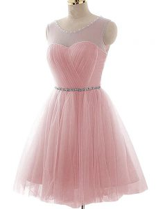 Smart Pink Tulle Lace Up Scoop Sleeveless Mini Length Dress for Prom Beading and Ruching
