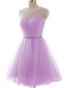 Tulle Scoop Sleeveless Lace Up Beading and Ruching Homecoming Dress in Lavender