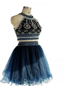 Mini Length Navy Blue Club Wear Tulle Sleeveless Beading