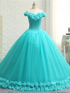 Aqua Blue Off The Shoulder Lace Up Hand Made Flower Sweet 16 Dress Court Train Sleeveless