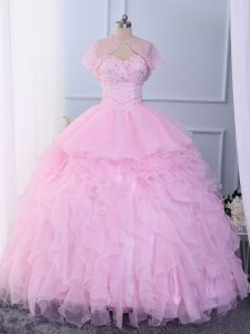Glittering Organza Sleeveless Floor Length Sweet 16 Quinceanera Dress and Beading and Ruffles