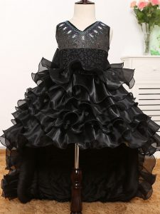 High Class V-neck Sleeveless Zipper Little Girl Pageant Gowns Black Organza