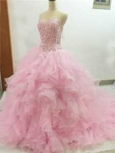 Sleeveless Beading and Ruffles Lace Up Quince Ball Gowns with Baby Pink Brush Train