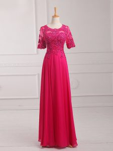 Latest Floor Length Empire Half Sleeves Hot Pink Mother Dresses Zipper