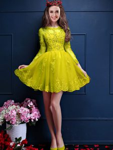 Yellow Scalloped Lace Up Beading and Lace and Appliques Quinceanera Dama Dress 3 4 Length Sleeve