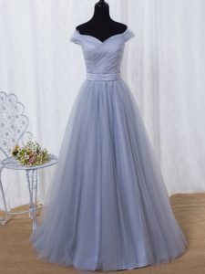 Traditional Lavender A-line Off The Shoulder Sleeveless Tulle Floor Length Lace Up Ruching and Belt Red Carpet Gowns