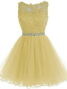 Light Yellow Sleeveless Beading and Lace and Appliques Mini Length Cocktail Dresses