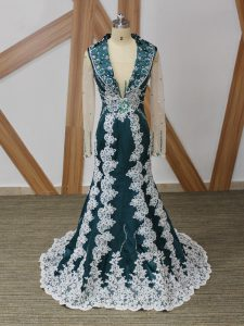 Cheap Long Sleeves Beading and Lace and Appliques Zipper Mother of Groom Dress with Navy Blue Brush Train