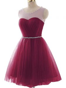 Wonderful Sleeveless Lace Up Mini Length Beading and Ruffles Prom Party Dress