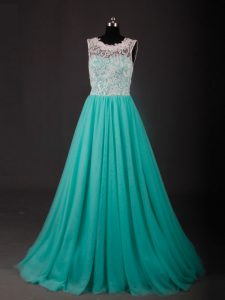 Deluxe Scoop Sleeveless Chiffon Prom Gown Lace and Embroidery Sweep Train Zipper
