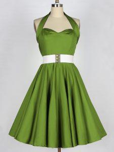 Halter Top Sleeveless Court Dresses for Sweet 16 Knee Length Belt Olive Green Taffeta