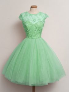 Turquoise Tulle Lace Up Quinceanera Court Dresses Cap Sleeves Knee Length Lace