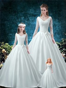 Discount White Satin Lace Up Quinceanera Gown 3 4 Length Sleeve Chapel Train Lace and Belt