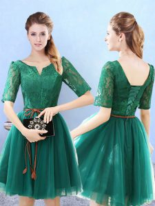 Green Half Sleeves Tulle Lace Up Dama Dress for Quinceanera for Prom