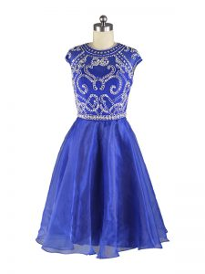 Fashion Blue Organza Zipper Scoop Cap Sleeves Mini Length Cocktail Dress Beading