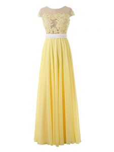 Custom Made Yellow Sleeveless Lace and Appliques Floor Length Prom Gown